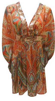 Chiffon paisley print kaftan dress with sequin neckline S14/16