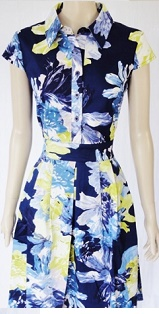 Collar Blue Floral with Pockets Dress S8