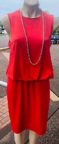 Coral Red Stretchy Dress S10