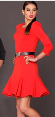 Coral Red Winter Dress S10, 14, 16