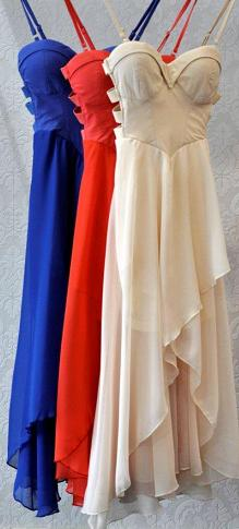 Chiffon Cut Out Dress Cream, Blue, Red S8,10,12
