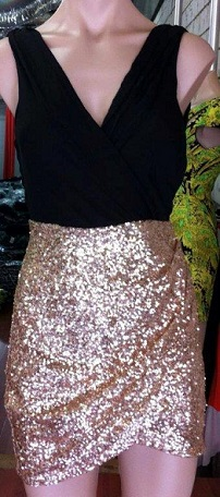 Gold Sequin Dress with Black S6/8 with White S6,8