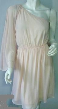 One Shoulder Chiffon Dress Pale Apricot/Pink S6,8,10