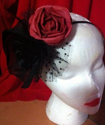 Frockme Black Flower Red Rose headband $50