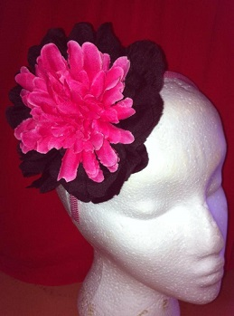 Frockme Pink and Blacj Flower on Headband $40