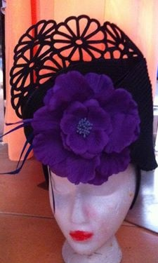 LA Frockme Lasercut Purple Flower Facinator SOLD