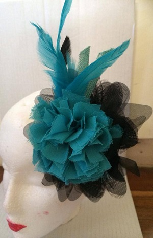 Teal Black on Headband $45