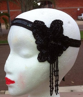 Frockme Vintage Headband Black beaded $25 SOLD similar ones not yet photographed