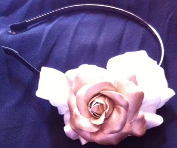 White Bow Gold Flower On Headband