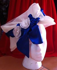 LA Frockme White Hat with Blue Trim & 3 white flowers $70