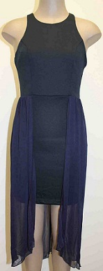 Navy fitted chiffon Flowy Dress S8,10,12