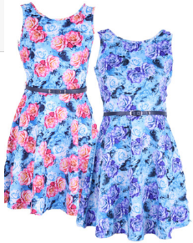 Floral with Belt Dress Pink S14 Purple Sold out