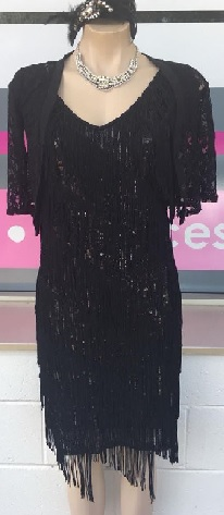 Black Sequin Fringe Dress S10,12,14,16 (size 18 in soon)