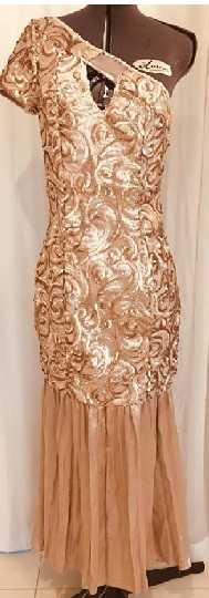 Gold Sequin One Shoulder Gown S8