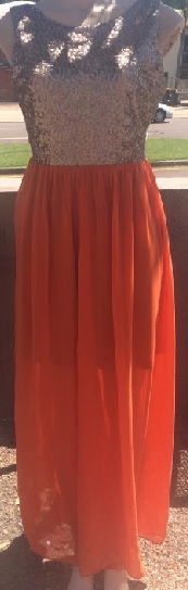 Gold Sequin Orange Maxi S10