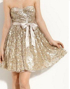 Cocktail Sequin Dress Gold S12