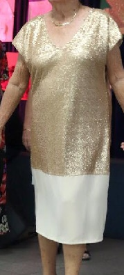 Gold Sequin Chiffon Dress S12/14, 16/18