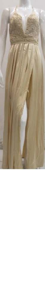Gold Soft Satin Lace Top Gown S10,12