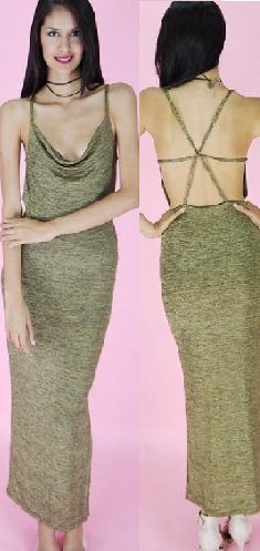 Gold Strappy Body Con Maxi S10