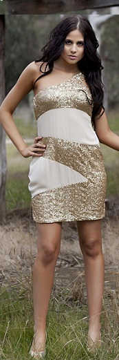 One Shoulder Gold Sequin Dress S10