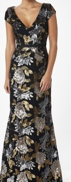 Gold Silver Black Sequin Gown S8