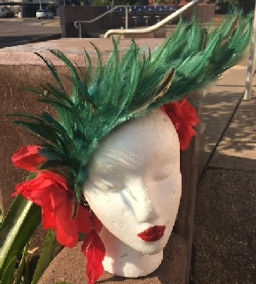 Green Feathers Red Flower $120