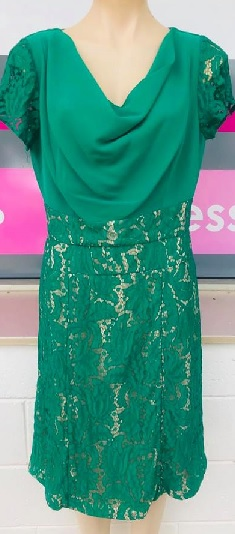 Green Lace Cowl Neck Dress S12,14