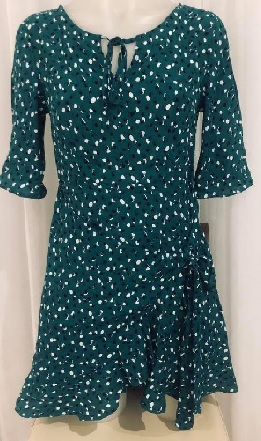 Green Mini 3/4 Sleeved Dress S8,12