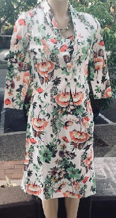 Green Orange Floral Print Dress with  - Jacket S10,12,14,18