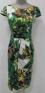 Green Print With Cap Sleeves S8,10 (small sizing)
