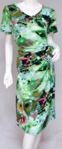 Green Print with Sleeves Light Jersey Dress S8,10,12