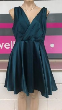 Green Satin Swing Dress S8,10
