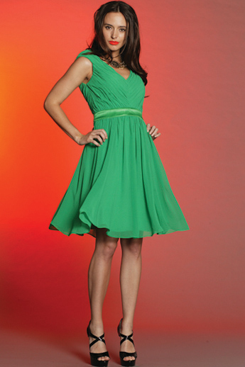 Green100%  Silk Swing Dress S10