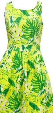 Tropical Green Print Dress S8,12