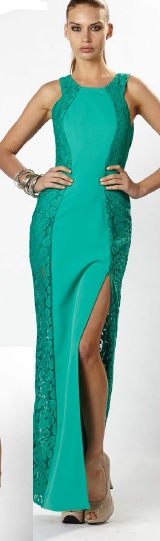 Green with Lace Gown S8,10