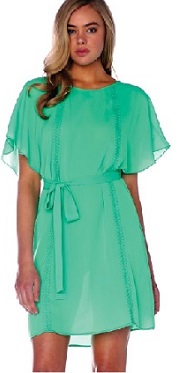 Green Chiffon Dress with Sleeves S10