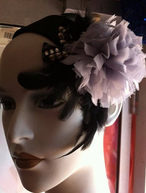 Grey Flower on Black Headband $45