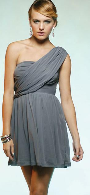 One Shoulder Grey Mesh S14