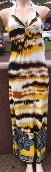 Yellow Brown print Halter S8/10