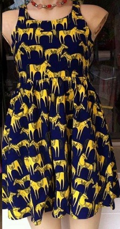 Horse Dress Navy Yellow S12,14