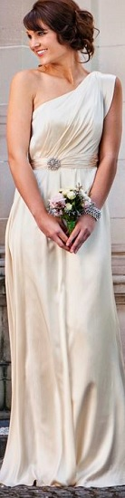 Ivory Soft Satin one shoulder gown S10