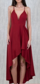 Joy Burgandy High Low Formal Dress S6,10,14