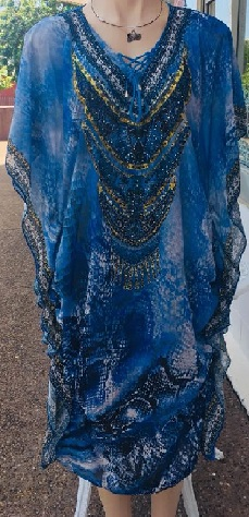 Kaftan Blue Bling Ruched S14/16, 18/20