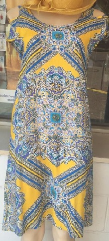 Blue Yellow Kaftan knee length S8,10,12 & Maxi S8