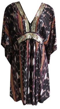 Kaftan Brown Print with sequins S8/10,16/18
