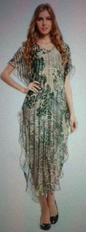 Kaftan Pleated Green Print S10/14