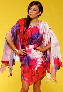 Kaftan Red Purple White Print S10