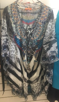 Kaftan Short Grey print with bling S12/18