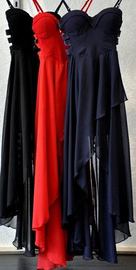 Chiffon Cut Out Navy Red Black S8,10,12
