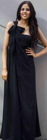 One Shoulder Black Chiffon Gown S8,10, 12,14